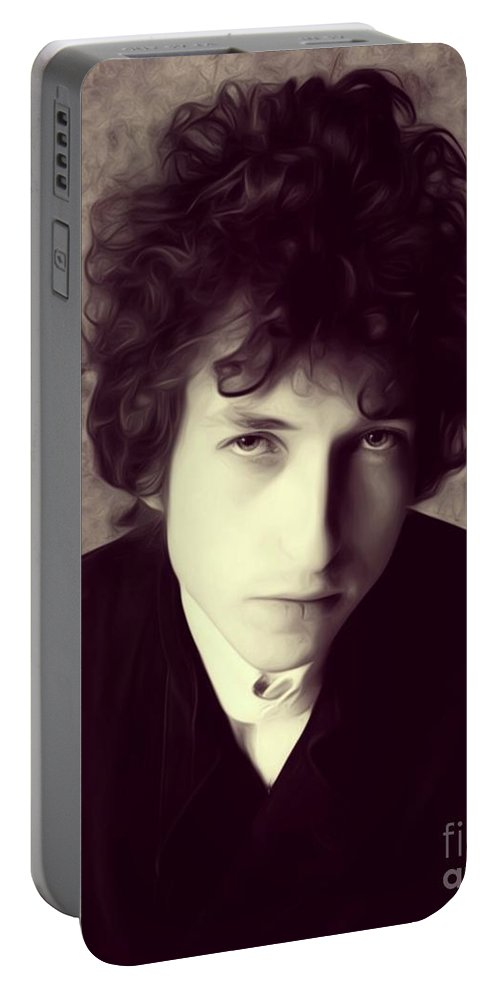 Bob Portable Battery Charger featuring the digital art Bob Dylan, Music Legend by Esoterica Art Agency