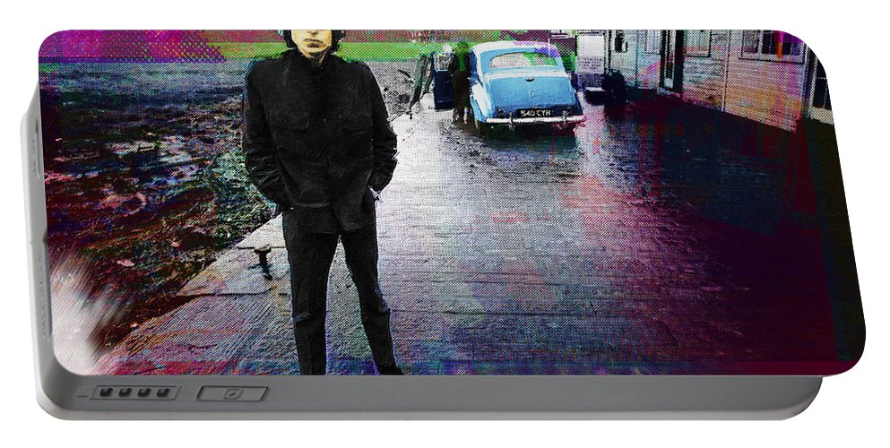 Bob Dylan Portable Battery Charger featuring the painting Bob Dylan No Direction Home 1 by Tony Rubino