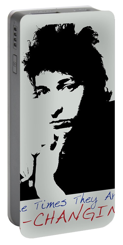 Bob Dylan Portable Battery Charger featuring the painting Bob Dylan Poster Print Quote - The Times They Are A Changin by Beautify My Walls