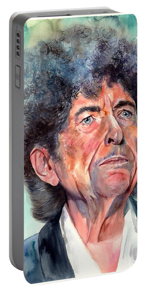 Bob Portable Battery Charger featuring the painting Bob Dylan watercolor portrait by Suzann Sines