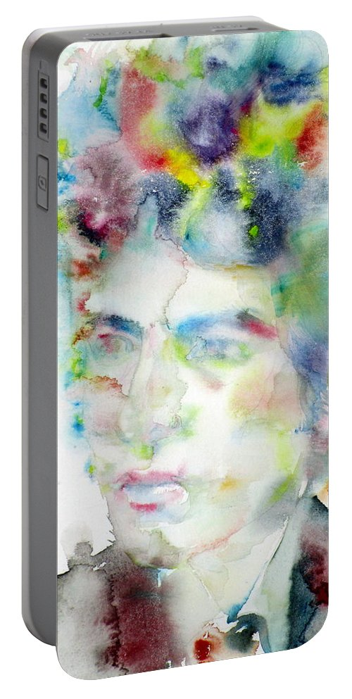 Bob Dylan Portable Battery Charger featuring the painting Bob Dylan - Watercolor Portrait.4 by Fabrizio Cassetta
