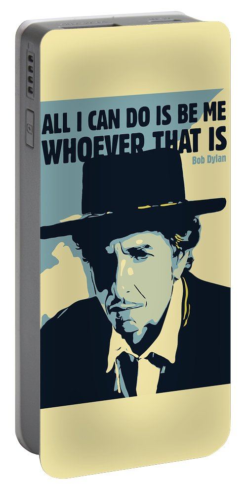 Bob Dylan Portable Battery Charger featuring the digital art Bob Dylan by Greatom London