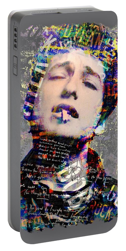 Dylan Portable Battery Charger featuring the digital art Bob by Mal Bray
