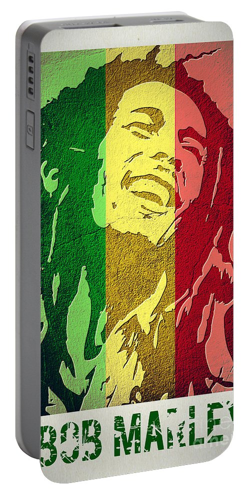 Bob Marley Portable Battery Charger featuring the digital art Bob Marley II by Binka Kirova