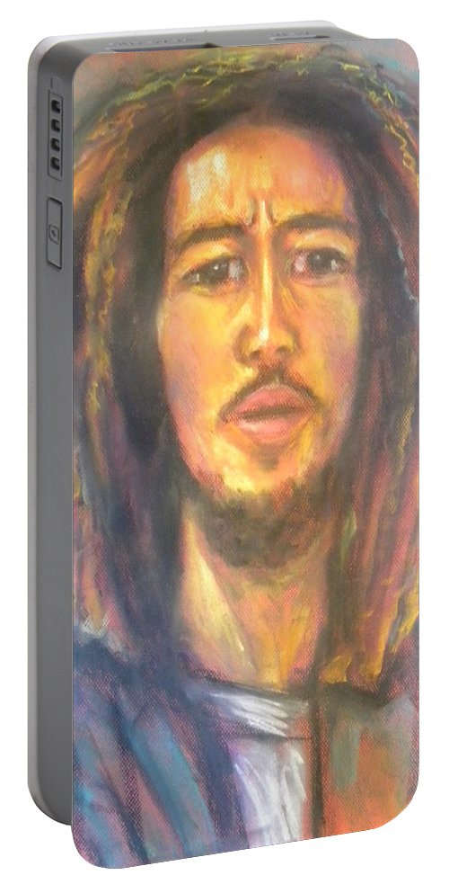 Portrait Portable Battery Charger featuring the drawing Bob Marley II by Jan Gilmore