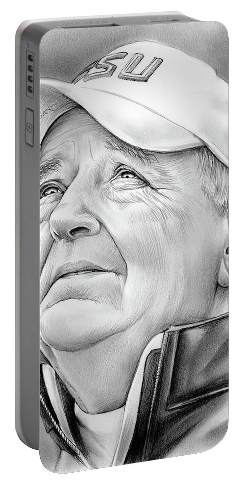 Bobby Bowden Portable Battery Charger featuring the drawing Bobby Bowden by Greg Joens