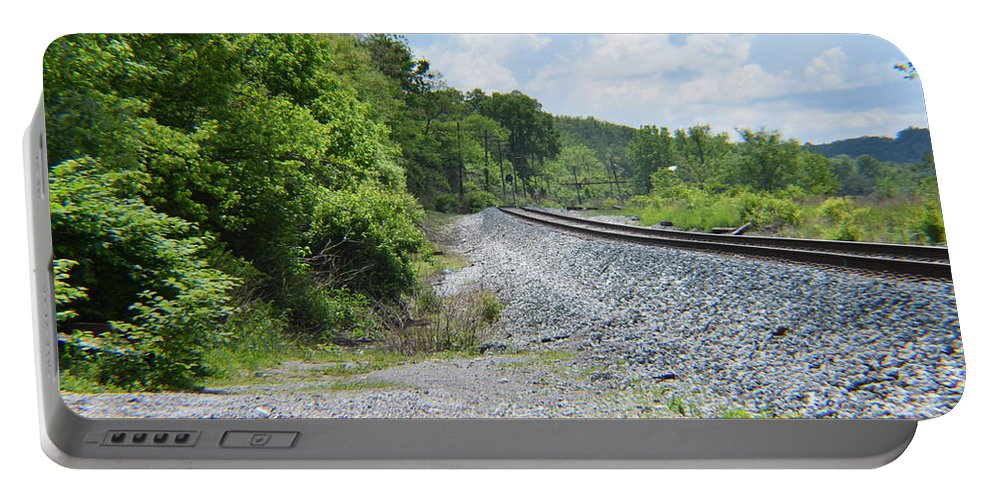 Railroad Portable Battery Charger featuring the photograph Bobby Mackey's Railroad by Kayla Chapel