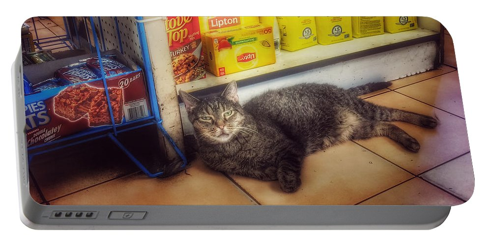 Bodega Cat Portable Battery Charger featuring the photograph Bodega Cat - At Home In New York by Miriam Danar