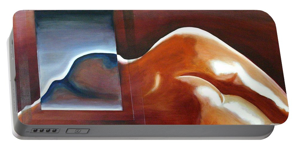Drawing Portable Battery Charger featuring the painting Bodyscape 1 by Gideon Cohn