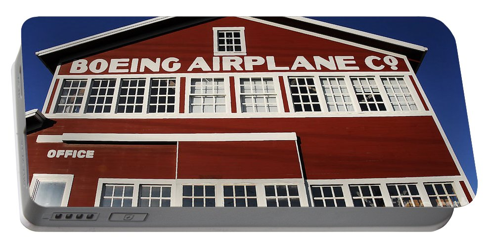 Boeing Portable Battery Charger featuring the photograph Boeing Airplane Hanger Number One by David Lee Thompson