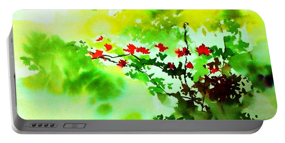 Floral Portable Battery Charger featuring the painting Boganwel by Anil Nene