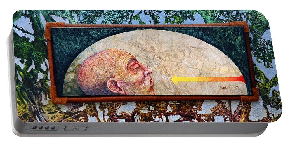 Surrealism Fantasy Fantastic Realism Decalcomania Otto Rapp The Mystic Portable Battery Charger featuring the painting Bogomil Rising by Otto Rapp