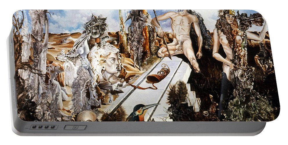 Surrealism Portable Battery Charger featuring the painting Bogomils Court by Otto Rapp