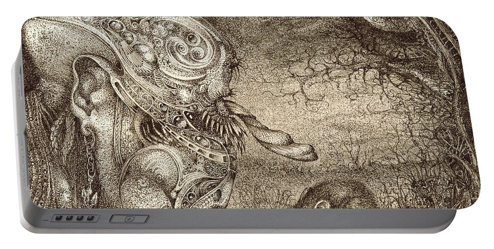 Surreal Portable Battery Charger featuring the drawing Bogomils Mousetrap by Otto Rapp
