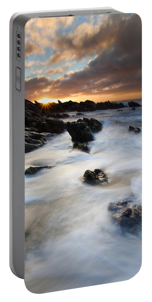 Sunrise Portable Battery Charger featuring the photograph Boiling Tides by Mike Dawson