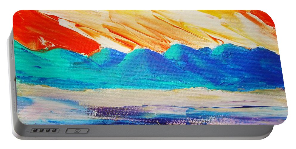 Bright Portable Battery Charger featuring the painting Bold Day by Melinda Etzold