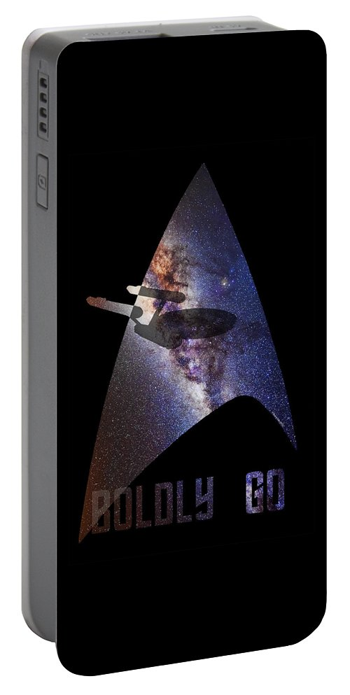 Star Trek Portable Battery Charger featuring the digital art Boldly Go by Shane Ede