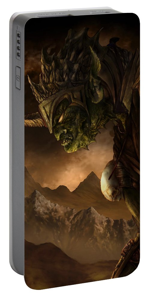 Goblin Portable Battery Charger featuring the mixed media Bolg The Goblin King by Curtiss Shaffer