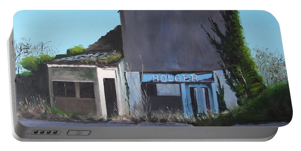 Bolger's Portable Battery Charger featuring the painting Bolger's, Crookstown by Tony Gunning