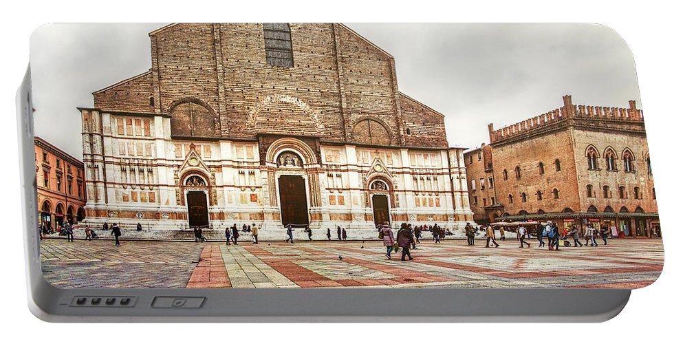 Abbey Portable Battery Charger featuring the photograph Bologna, Italy San Petronio Basilica Facade Crescentone by Luca Lorenzelli