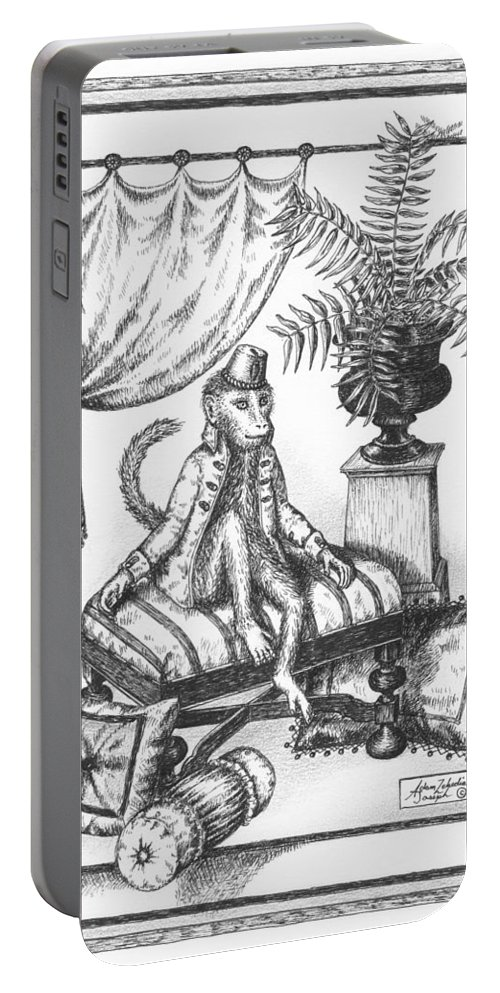 Black Portable Battery Charger featuring the drawing Bombay Monkey I by Adam Zebediah Joseph