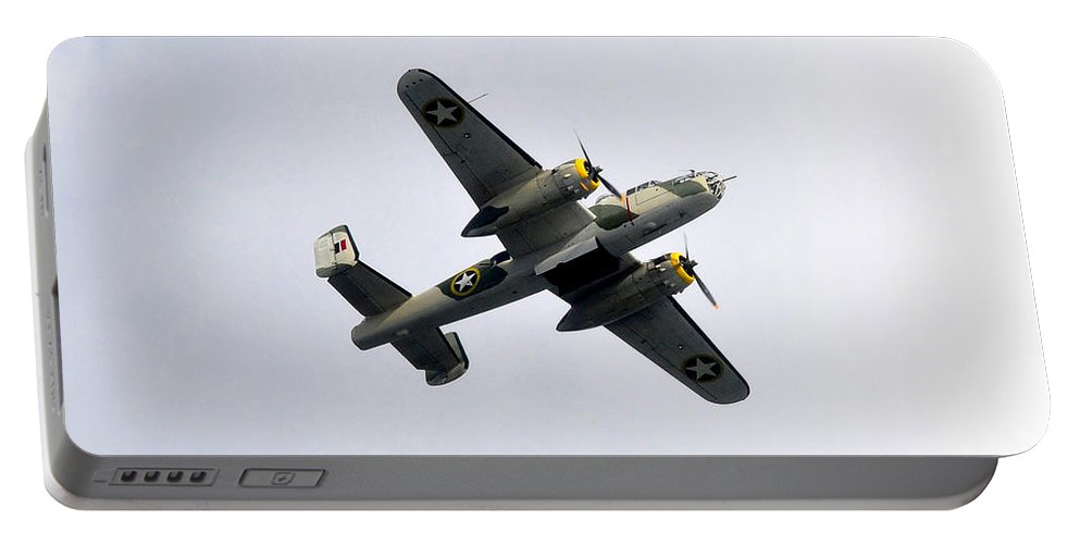 North American B 25 Mitchel Bomber Portable Battery Charger featuring the photograph Bombs Away by David Lee Thompson