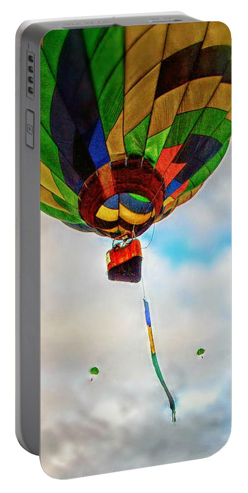 Hot Air Balloon Portable Battery Charger featuring the photograph Bon Voyage by Catherine Melvin