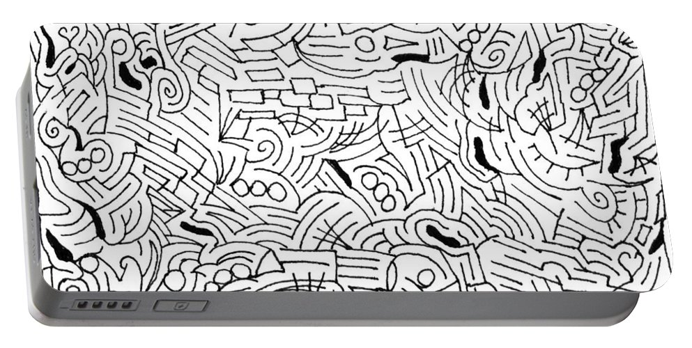 Mazes Portable Battery Charger featuring the drawing Bonding by Steven Natanson