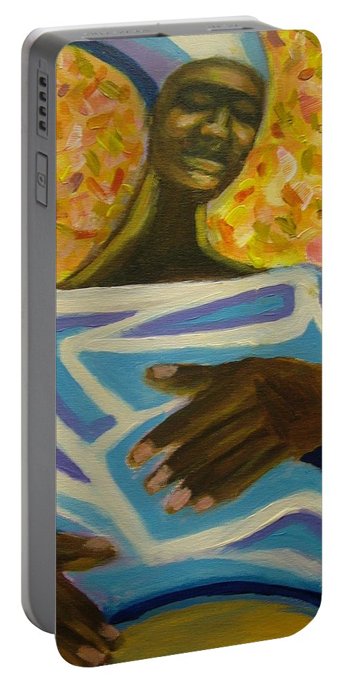 Painting Portable Battery Charger featuring the painting Bongo Man II by Jan Gilmore