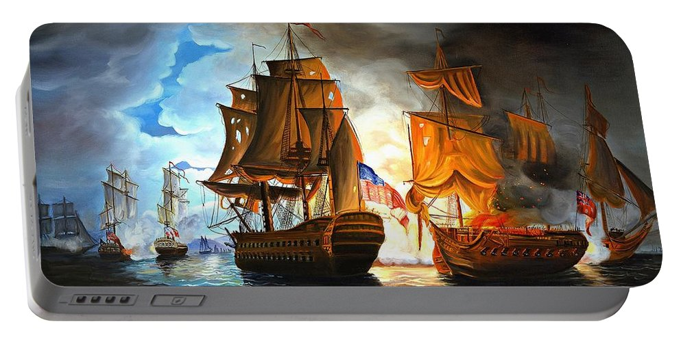 Naval Battle Portable Battery Charger featuring the painting Bonhomme Richard Engaging The Serapis In Battle by Paul Walsh