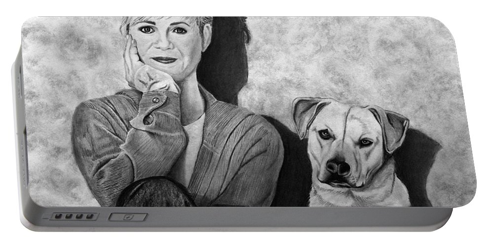 Bonnie Hunt And Charlie Portable Battery Charger featuring the drawing Bonnie Hunt And Charlie by Peter Piatt
