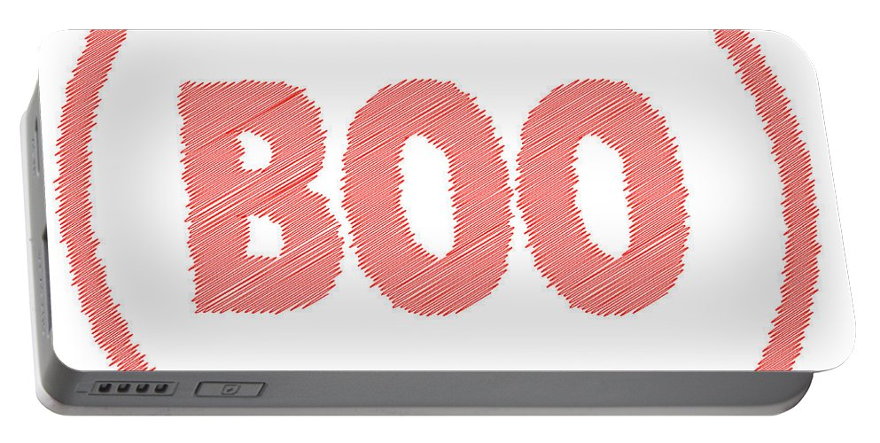 Boo Portable Battery Charger featuring the digital art Boo Rubber Stamp by Bigalbaloo Stock