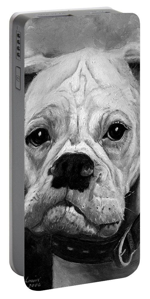 Boxer Portable Battery Charger featuring the painting Boo The Boxer by Portraits By NC