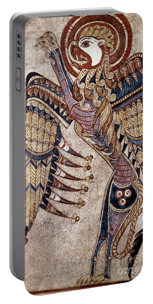 800 Portable Battery Charger featuring the painting Book Of Kells: Saint Mark by Granger
