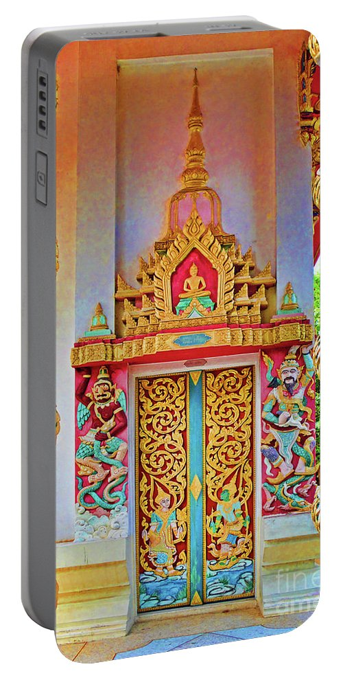 Bophut Portable Battery Charger featuring the photograph Bophut Temple In Thailand by Charlene Mitchell