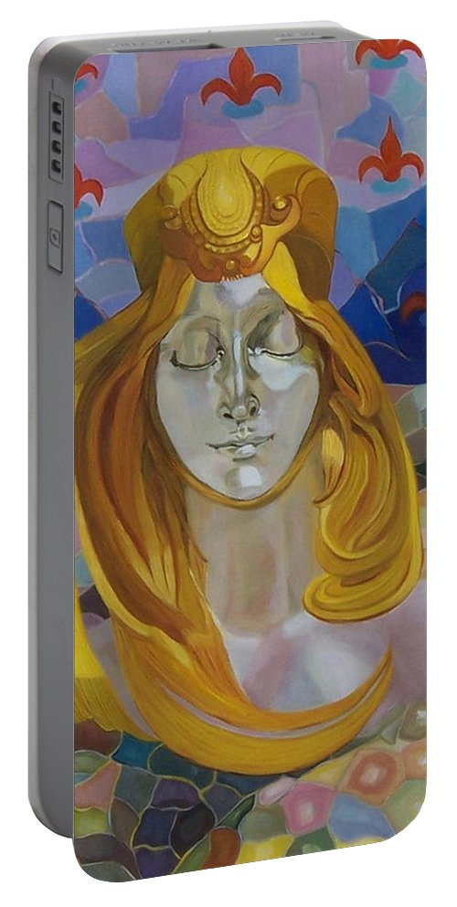 Figurative Portable Battery Charger featuring the painting Born-after Mucha by Antoaneta Melnikova- Hillman