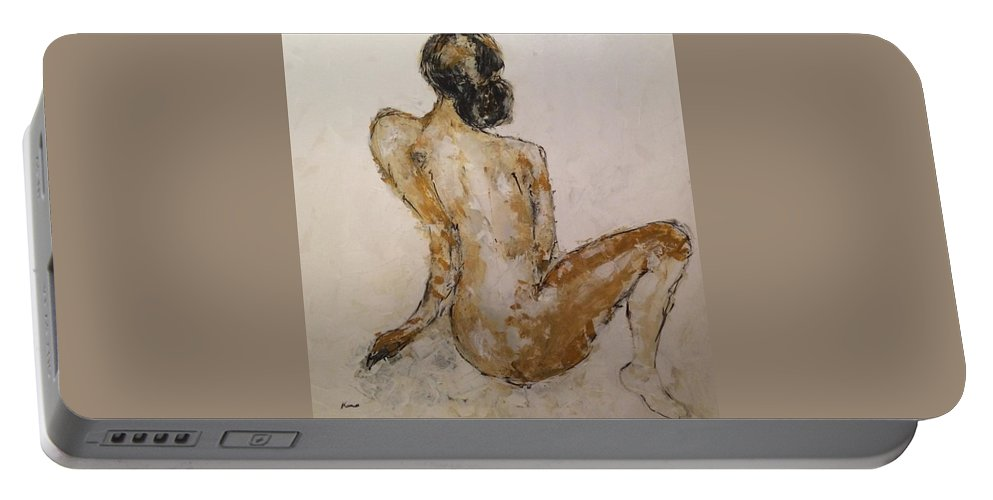 Figurative Painting On Canvas Portable Battery Charger featuring the painting Born Free by Iza Kono