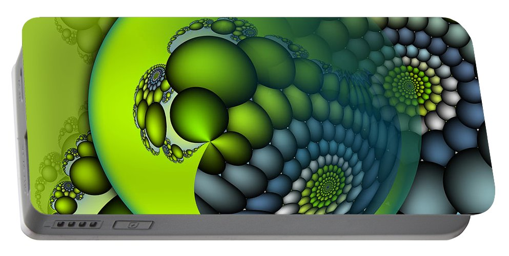 Fractal Portable Battery Charger featuring the digital art Born To Be Green by Jutta Maria Pusl