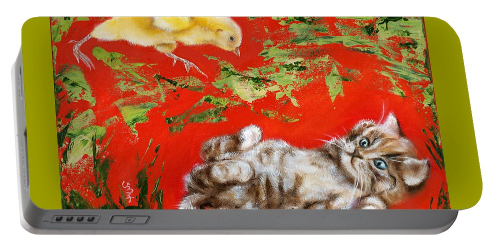Cat Portable Battery Charger featuring the painting Born To Be Wild by Hiroko Sakai