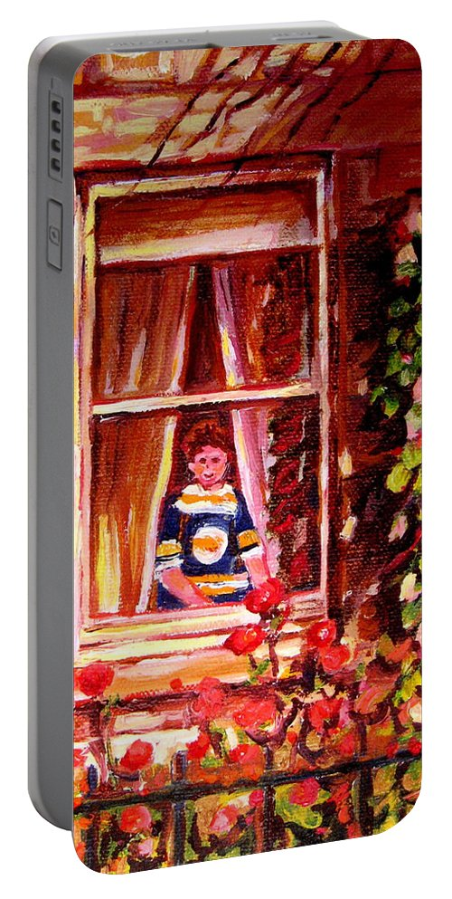 Boston Bruin Fan Portable Battery Charger featuring the painting Boston Bruin Fan by Carole Spandau