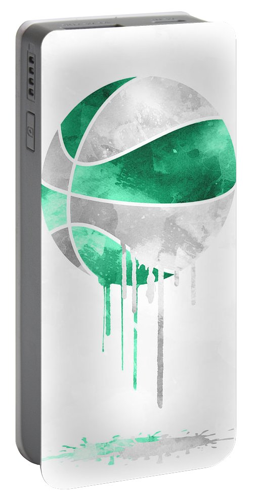 Celtics Portable Battery Charger featuring the mixed media Boston Celtics Dripping Water Colors Pixel Art by Joe Hamilton