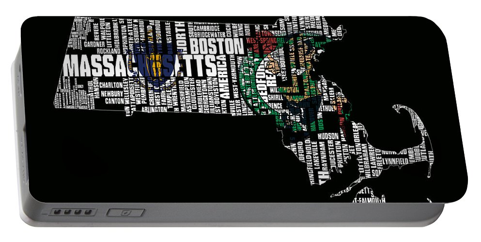 Massachusetts Portable Battery Charger featuring the digital art Boston Celtics Typographic Map by Brian Reaves
