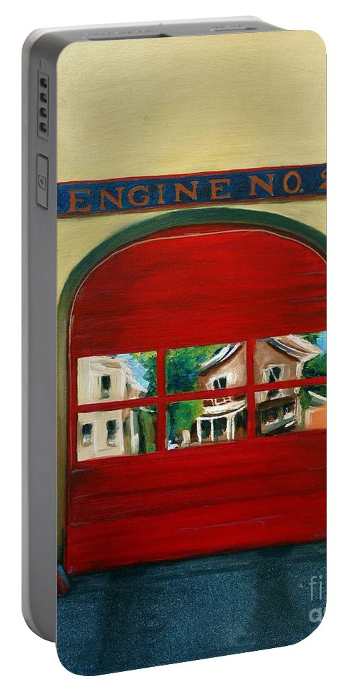 Fire House Portable Battery Charger featuring the painting Boston Fire Engine 21 by Paul Walsh