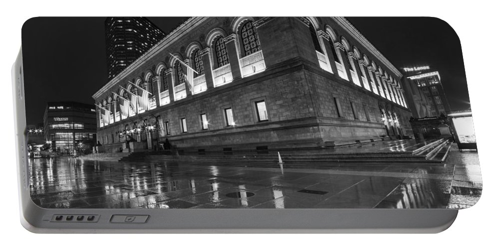 Boston Portable Battery Charger featuring the photograph Boston Public Library Rainy Night Boston Ma Black And White by Toby McGuire