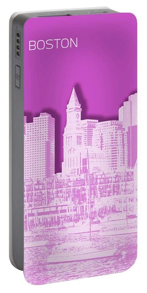 Boston Portable Battery Charger featuring the digital art Boston Skyline - Graphic Art - Pink by Melanie Viola