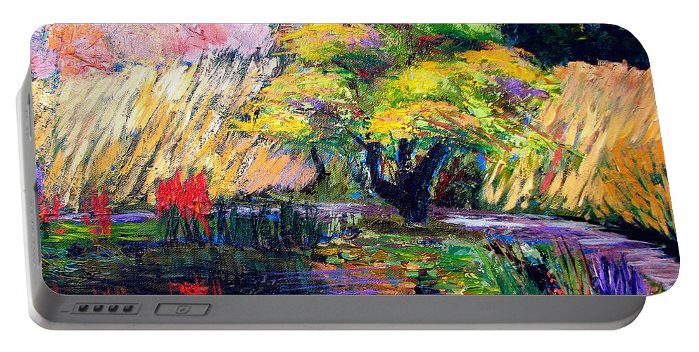 Art Nomad Portable Battery Charger featuring the painting Botanical Garden In Lund Sweden by Art Nomad Sandra Hansen