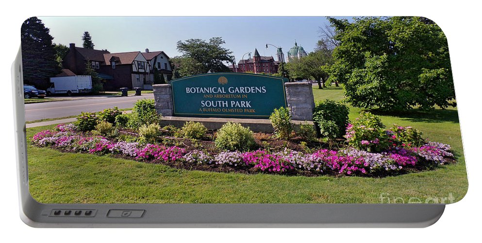 Buffalo Erie County Botanical Gardens Portable Battery Charger featuring the photograph Botanical Gardens Floral Landscaped Entrance by Elizabeth Duggan