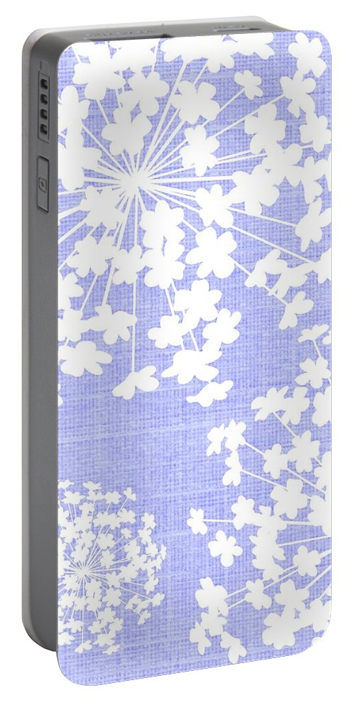 Botanicals Baby Blues Portable Battery Charger featuring the digital art Botanicals Baby Blues by Chastity Hoff