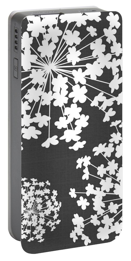 Botanicals Grey Portable Battery Charger featuring the digital art Botanicals Grey by Chastity Hoff