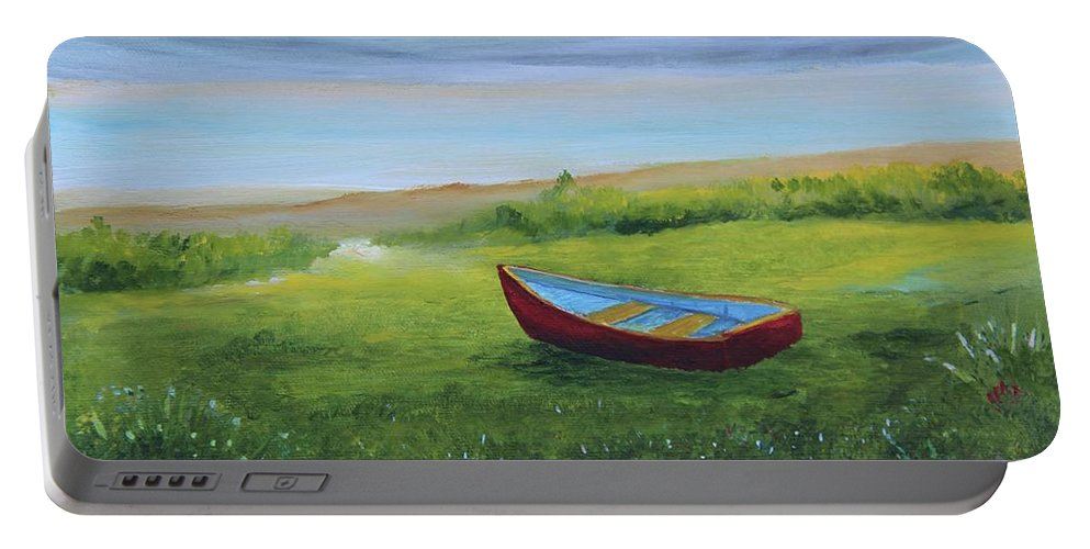 Alicia Maury Prints Portable Battery Charger featuring the painting Bote En La Grama by Alicia Maury